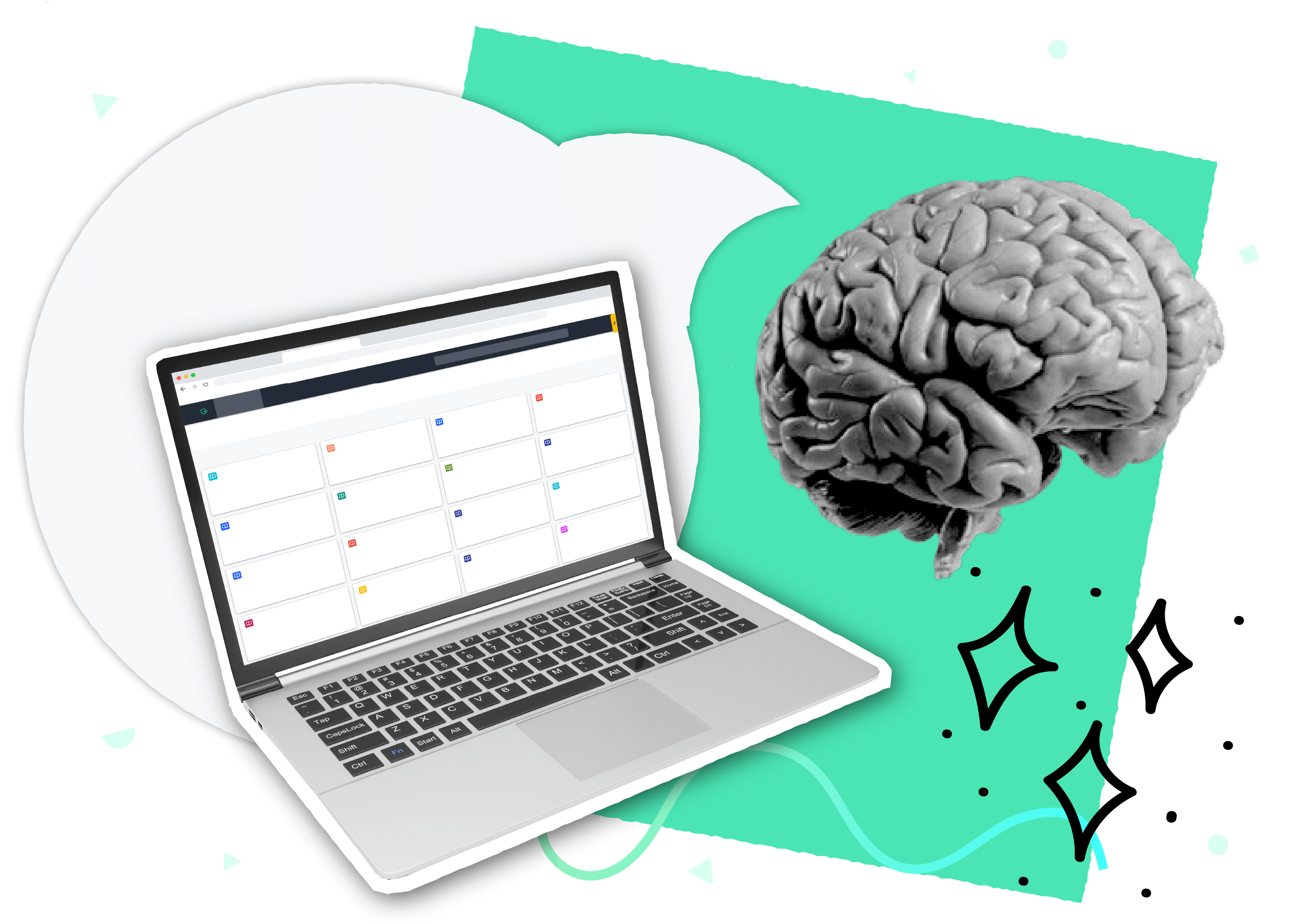 A collage containing a laptop displaying Guru's webapp, a brain, and a speech bubble