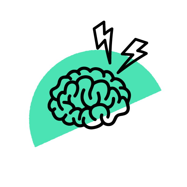 Brain and lightning bolt doodle icon