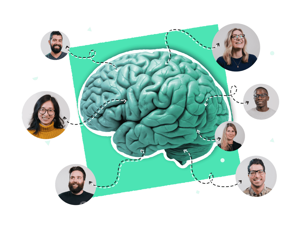 An image of a bunch of coworkers providing and receiving information from a large green brain.