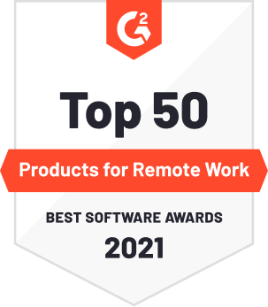G2 Badge: Top 50 Products for Remote Work 2021