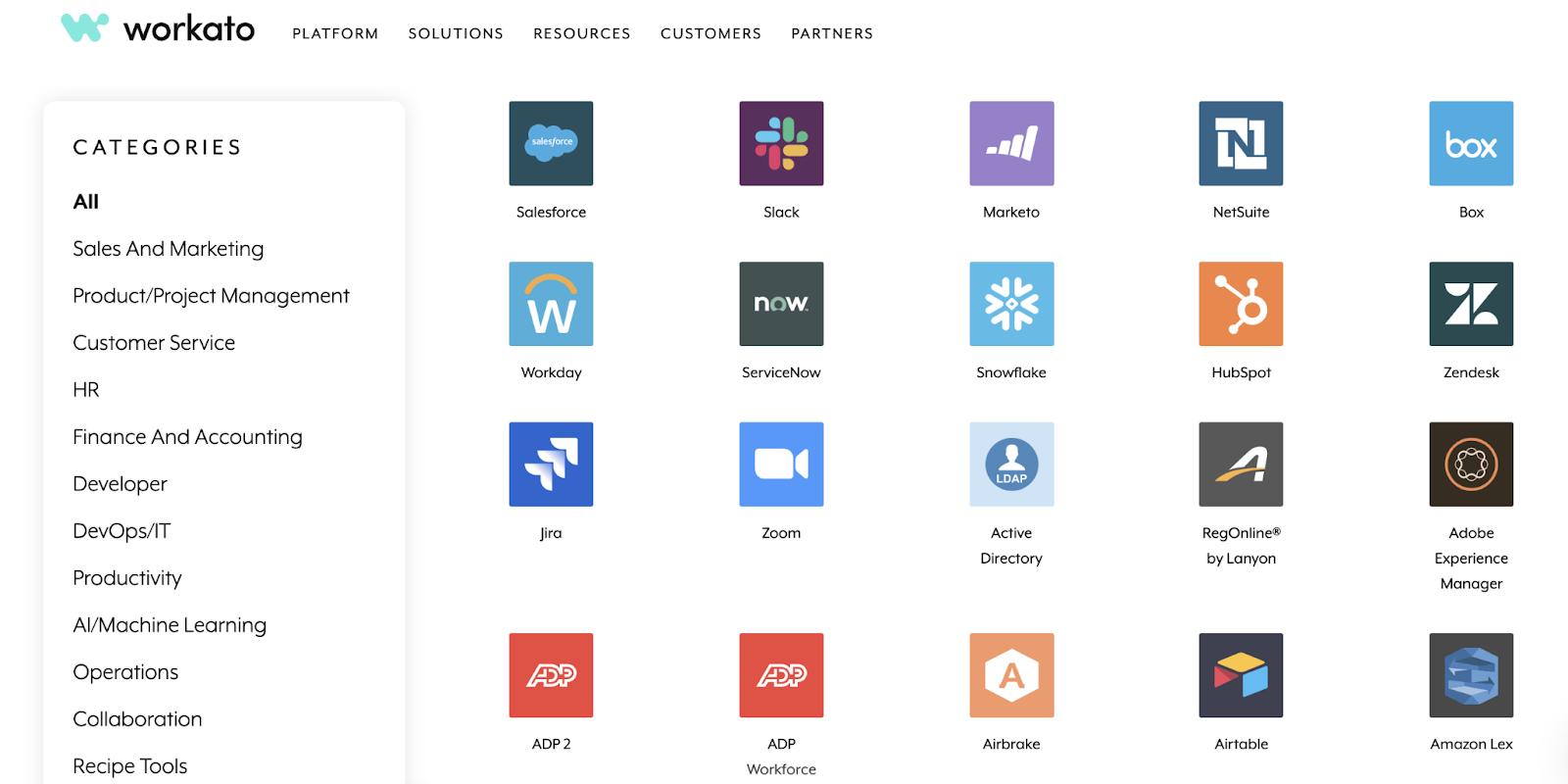 Screenshot of Workato marketplace