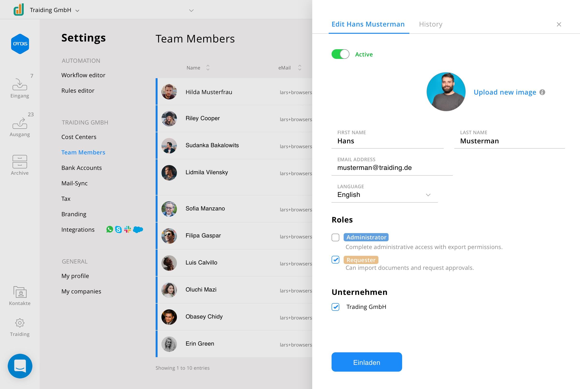 Teammitglieder in der CANDIS App