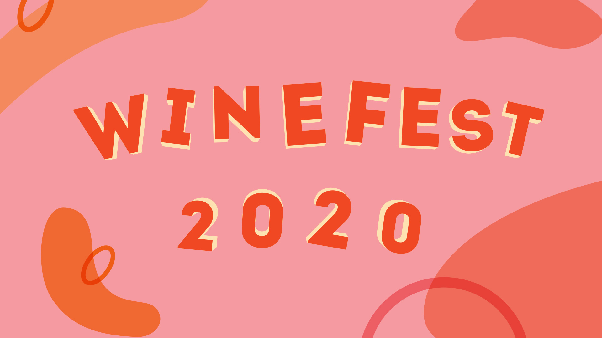 """Image 1/6: Illustrations in a pink, orange, and yellow color scheme with the words """"Winefest 2020"""""""