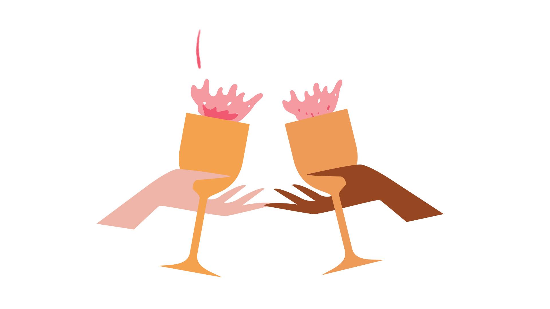 Image 6/6: Winefest 2020 illustration of hands cheersing