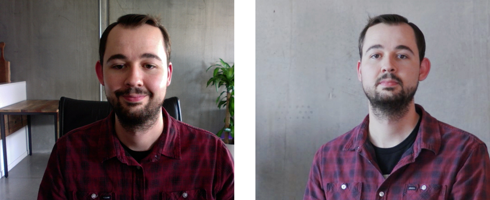 Comparison photos of man in front of grey background.