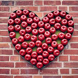 Herzform, die mit roten Äpfeln gefüllt ist