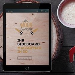 Tablet mit geöffneter Augmented-Reality-Software für Schreiner