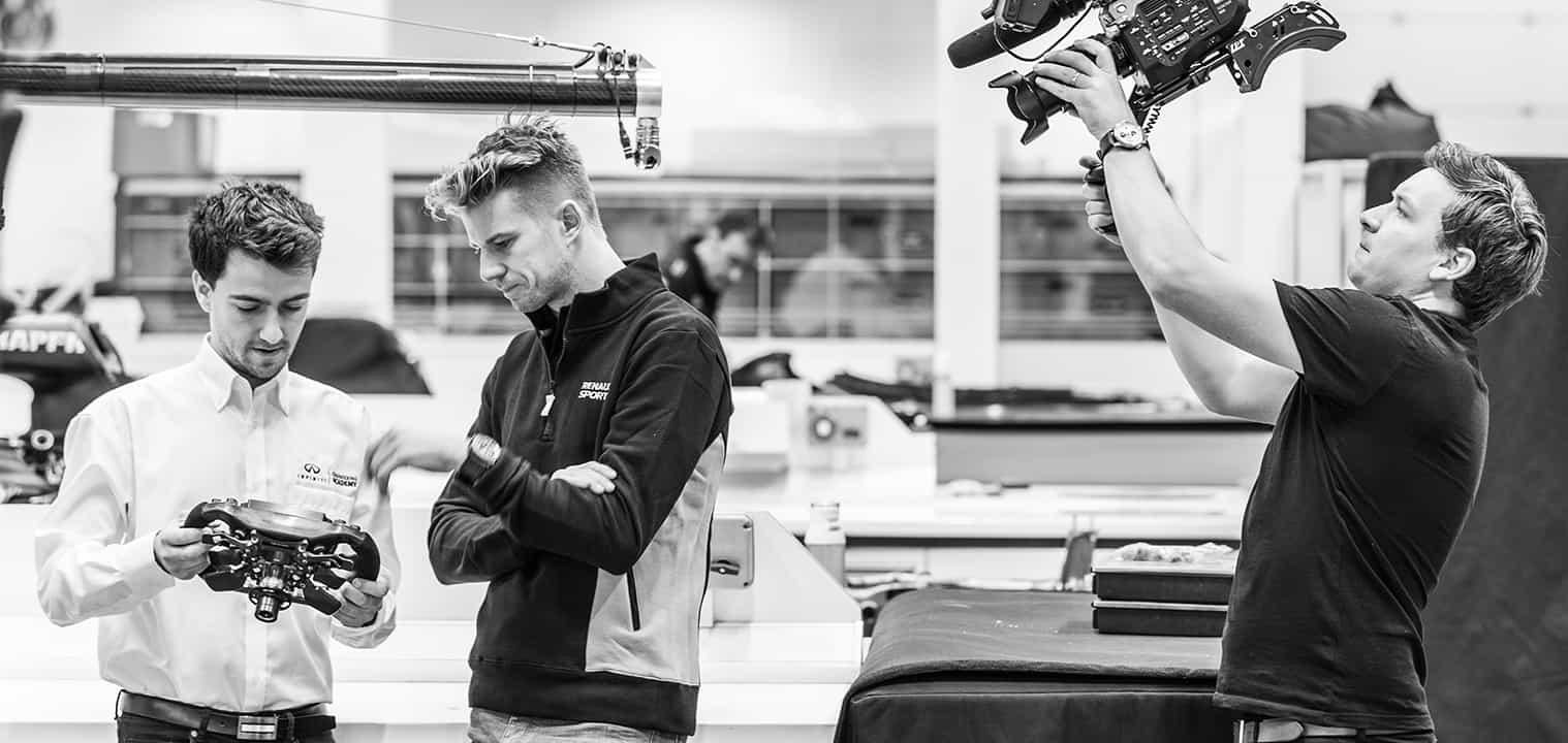 Bladesman filming along race driver Nico Hulkenberg