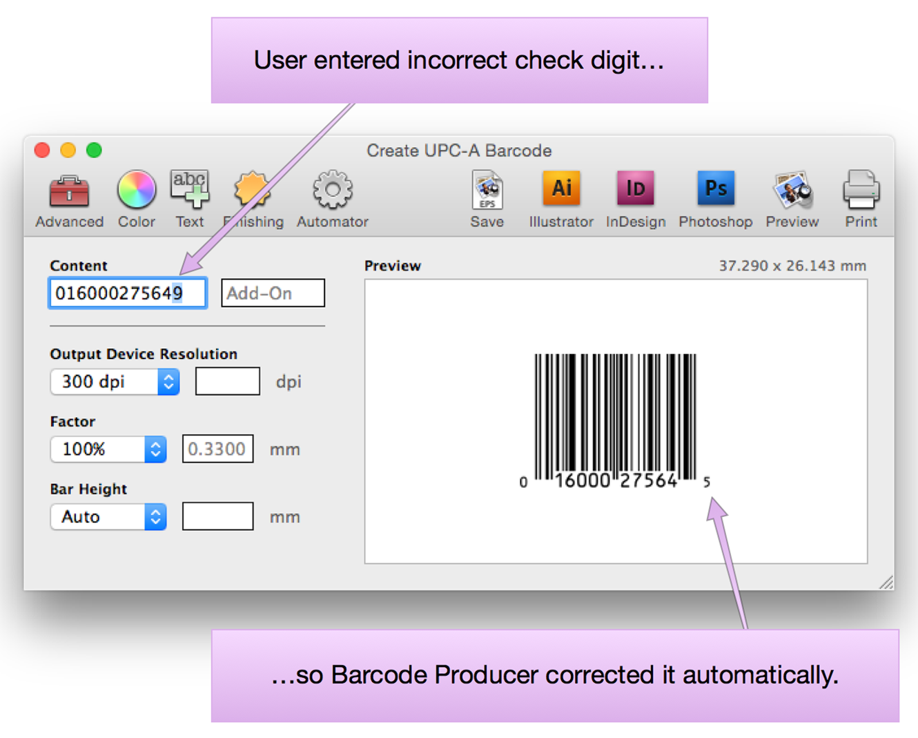Create UPC-A Barcode screen in Barcode Producer. The user has entered the incorrect check digit, so Barcode Producer automatically corrected it.