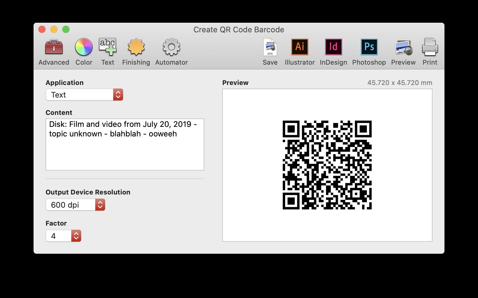 Create QR Code Barcode screen