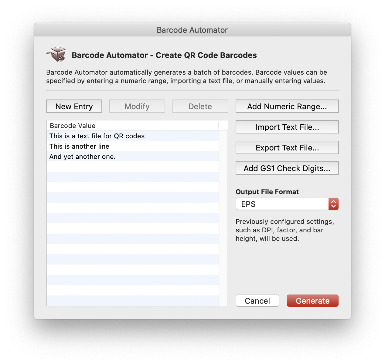 Import text file in the Automator screen