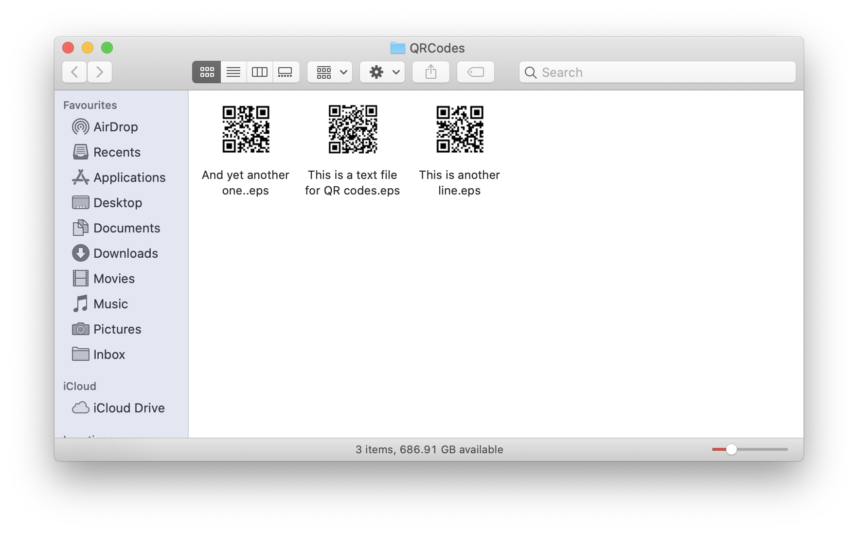 QR codes output to selected folder