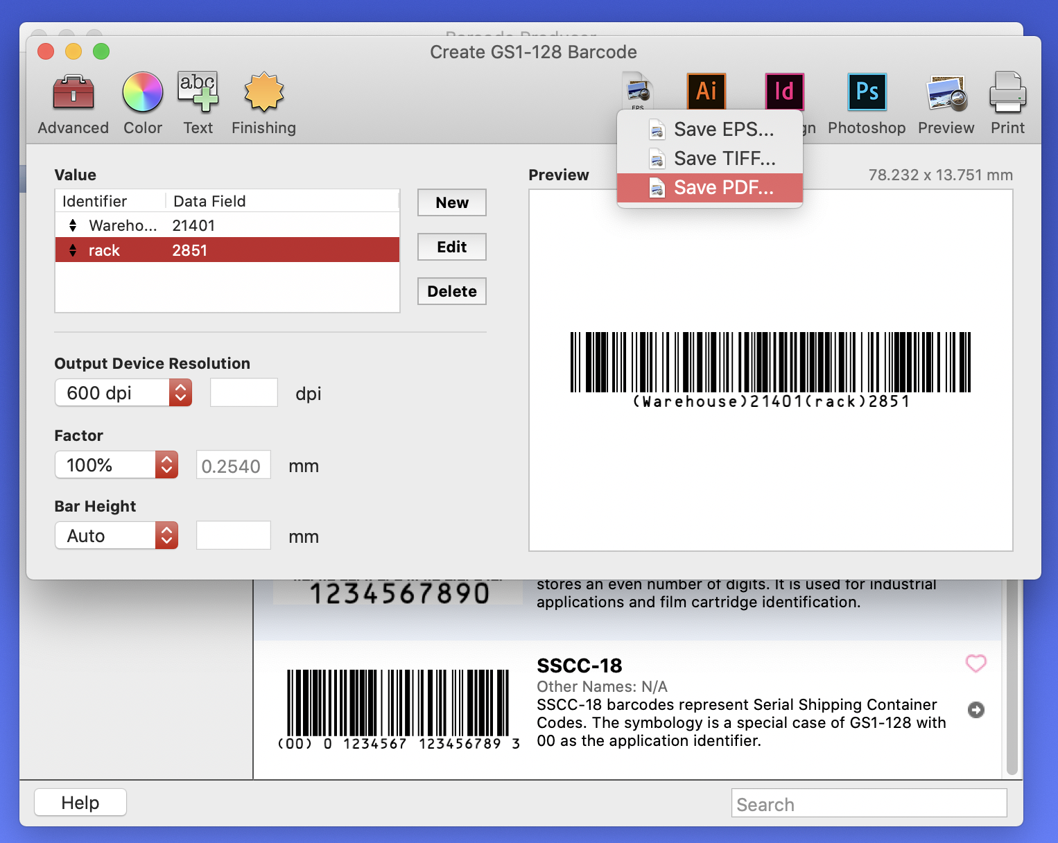"""Barcode Producer """"Save As"""" screen"""