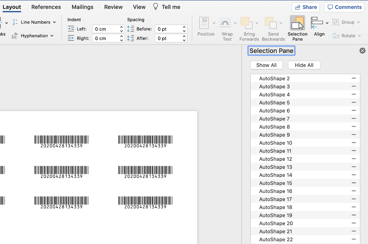AutoShapes in the Selection Pane in Microsoft Word
