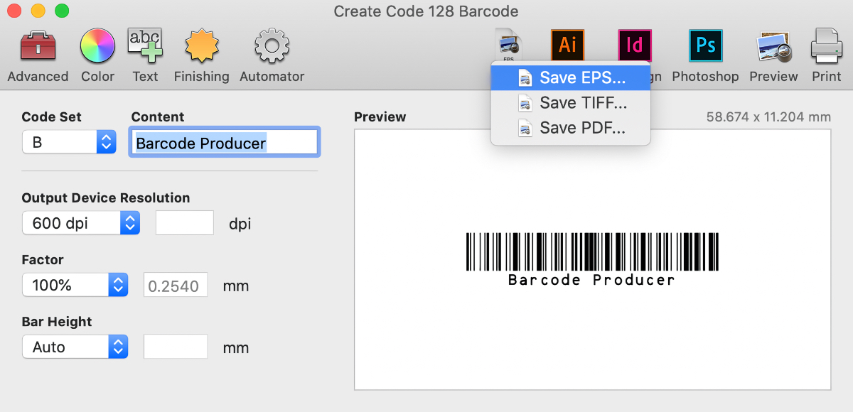 Save your barcode as EPS, TIFF, or PDF