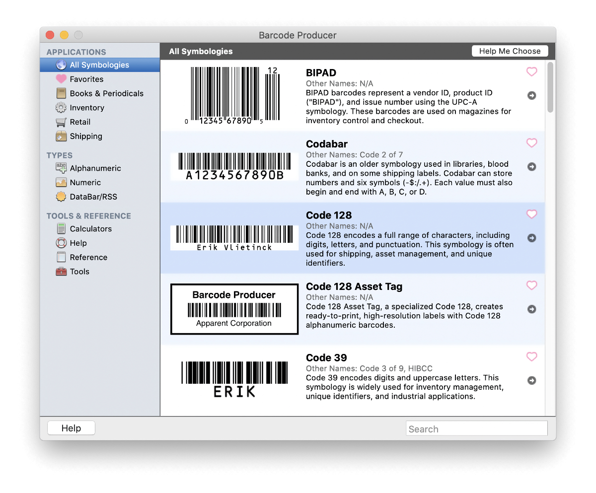 Select a Symbology screen in Barcode Producer