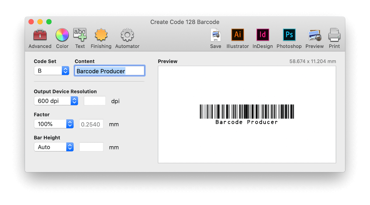 Save As screen in Barcode Producer