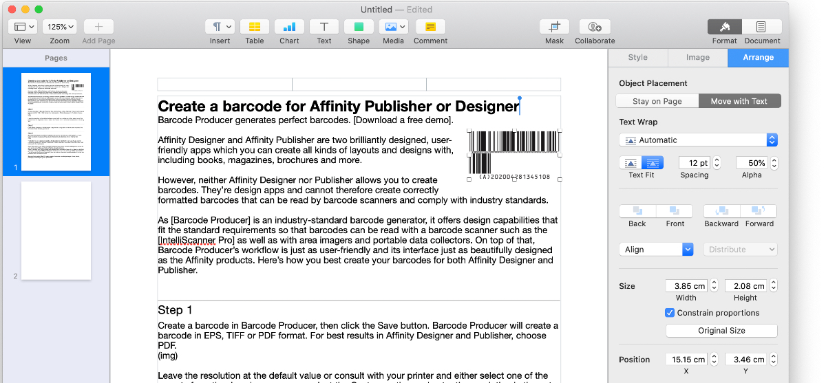 Drag and drop the barcode into Pages