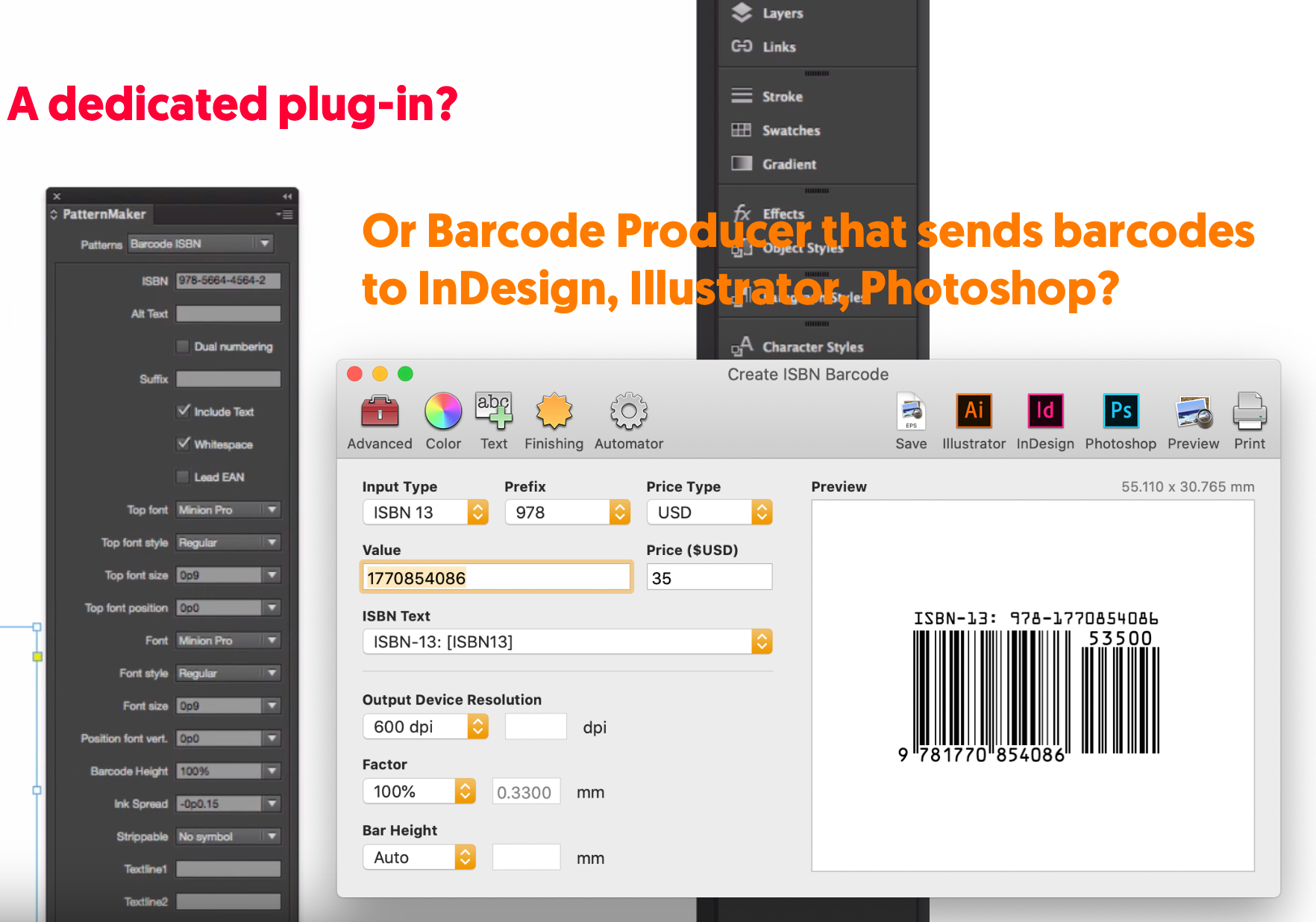 Visual comparison of an InDesign plug-in and Barcode Producer
