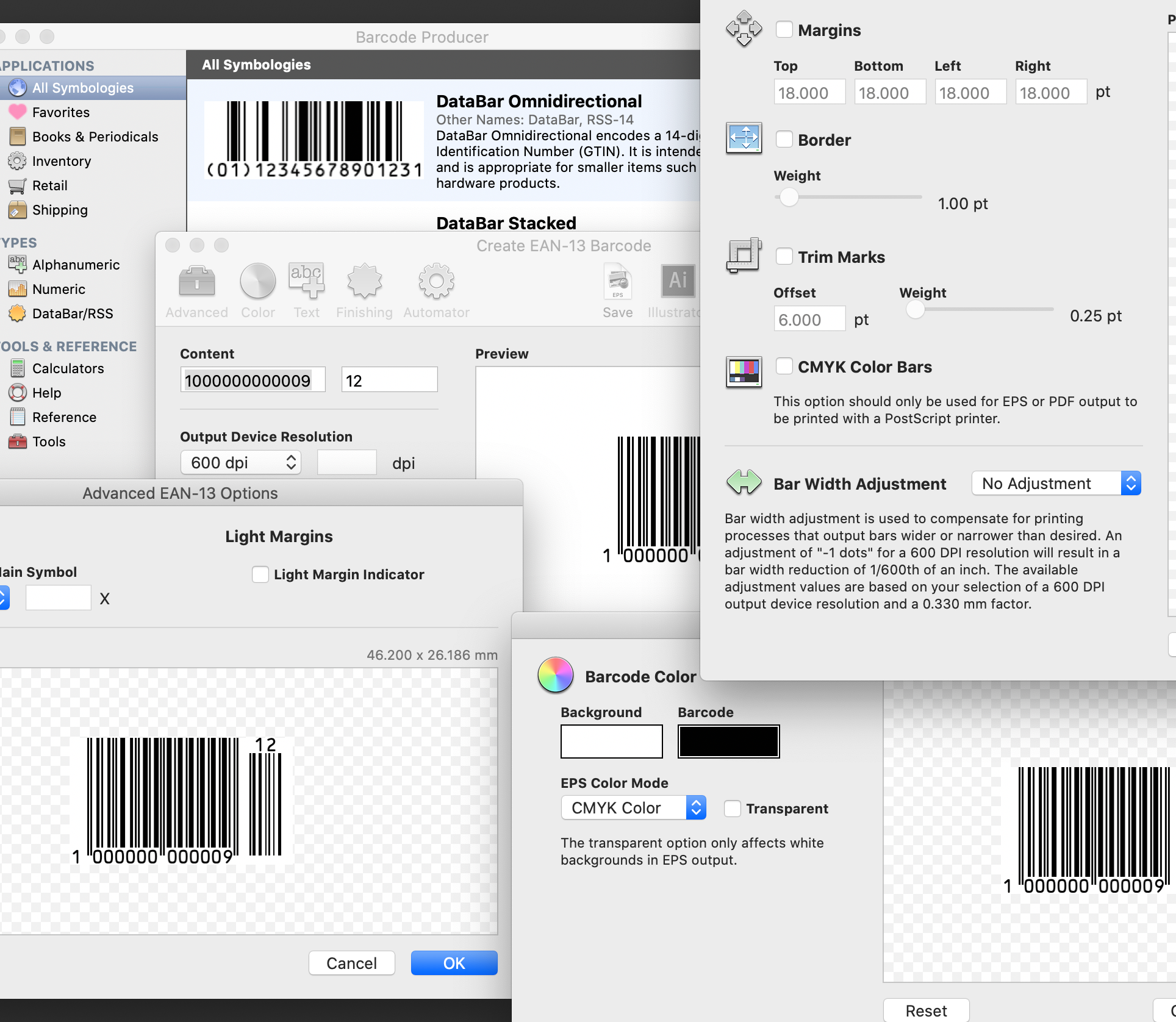 A composite of Barcode Producer screenshots to demonstrate its power and versatility