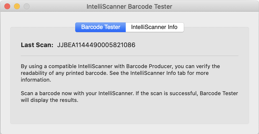 Barcode Producer's testing feature screen