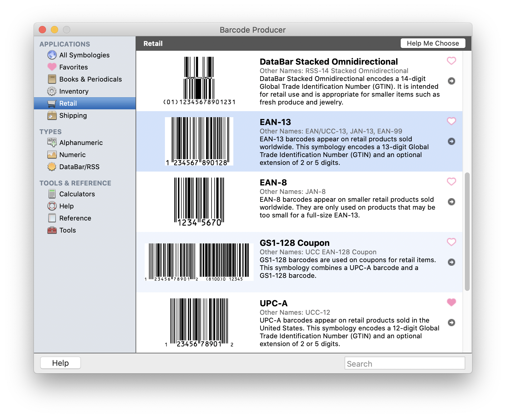 Retail Applications screen in Barcode Producer. EAN-13 is highlighted.