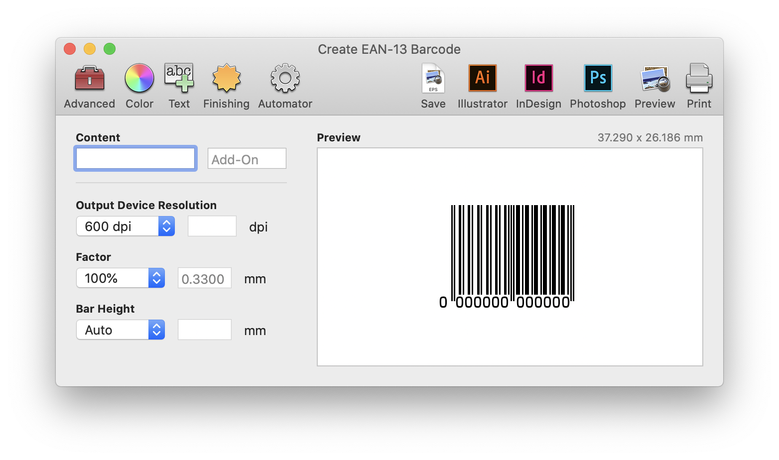 Create EAN-13 Barcode screen in Barcode Producer