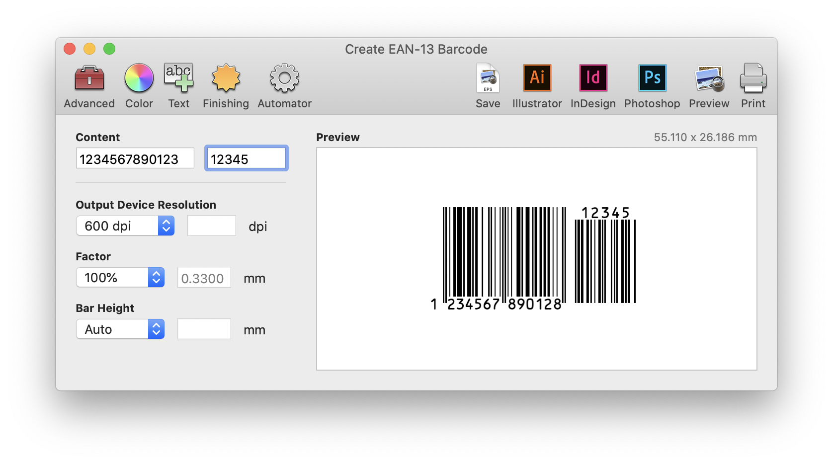 Barcode Producer Create EAN-13 Barcode window with live preview of a barcode based on the Content field