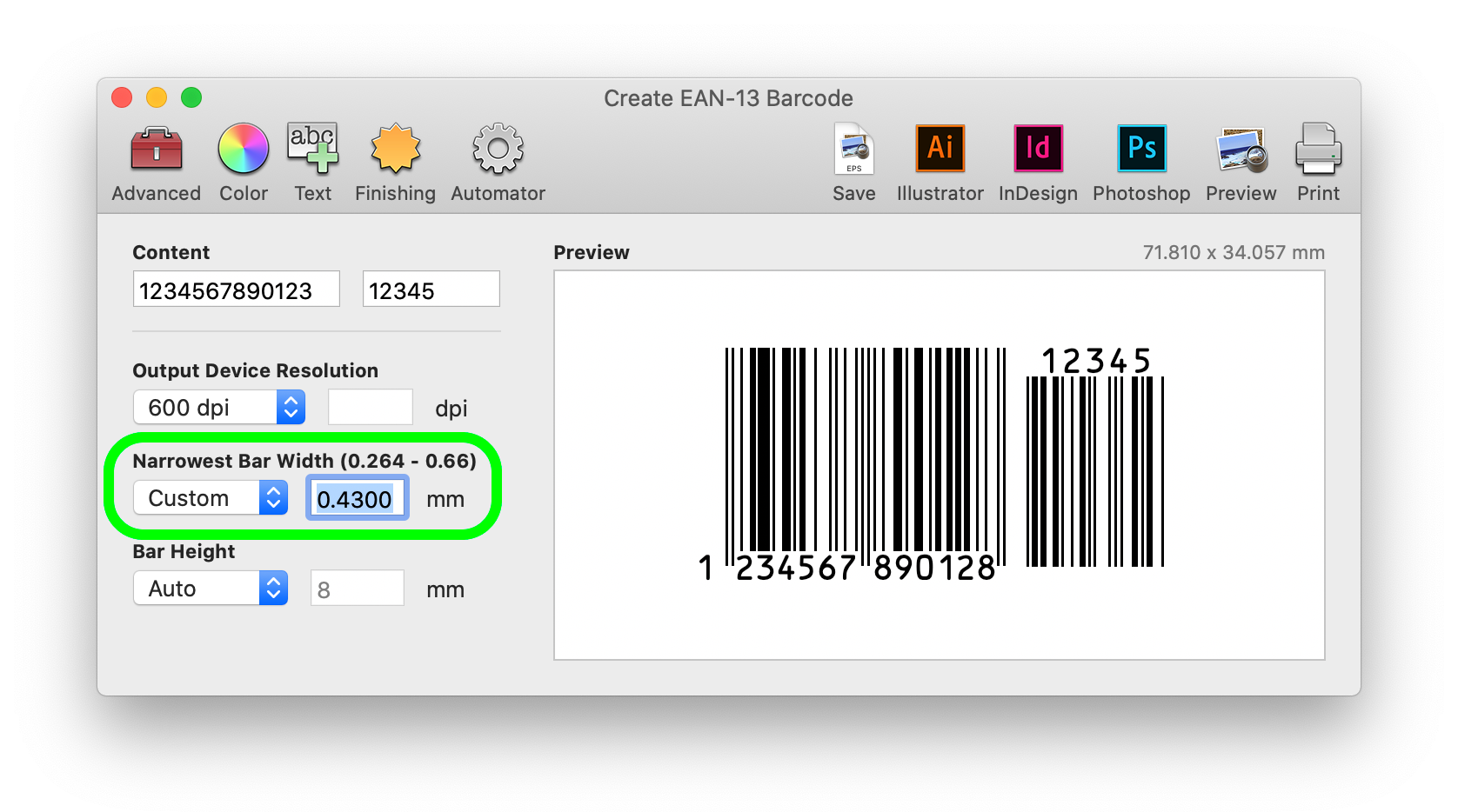 Make adjustments in the Create EAN-13 Barcode window for a better fit