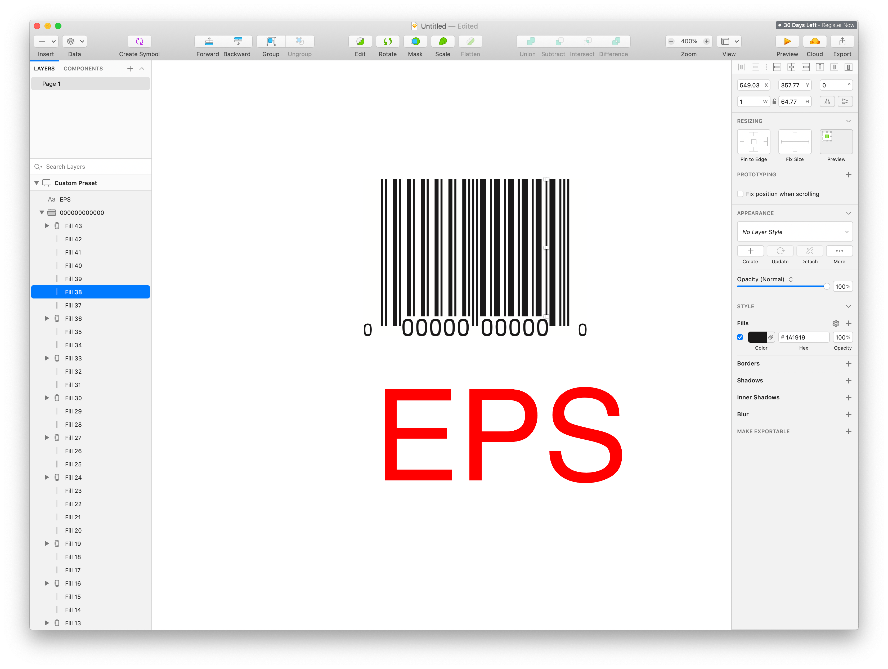 Sketch edit screen with an EPS barcode placed