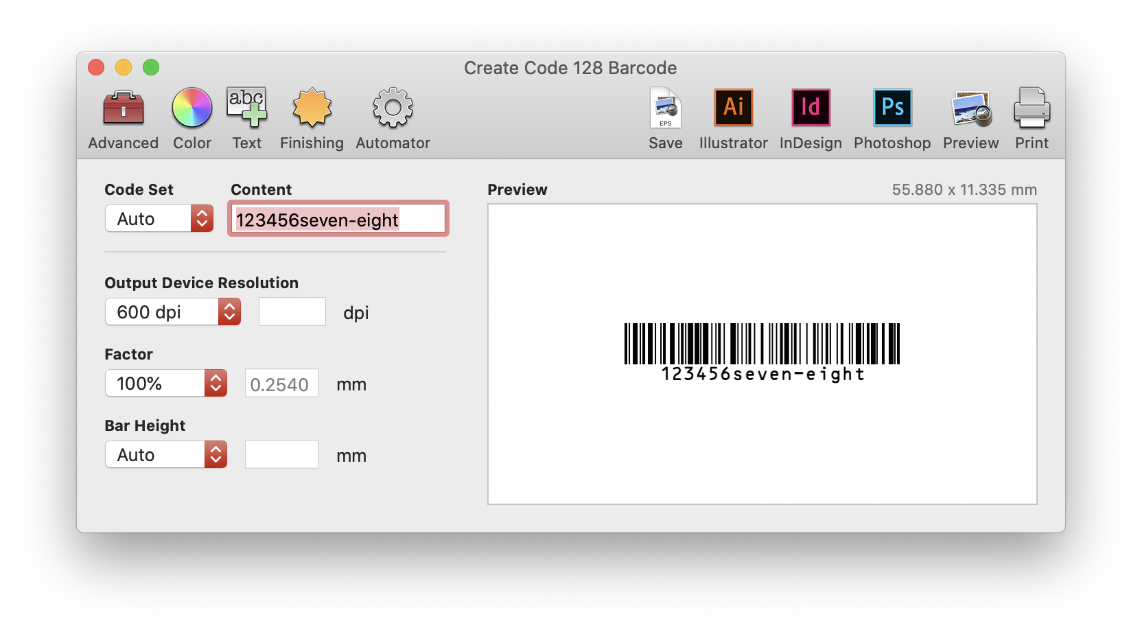 Create Code 128 Barcode screen in Barcode Producer