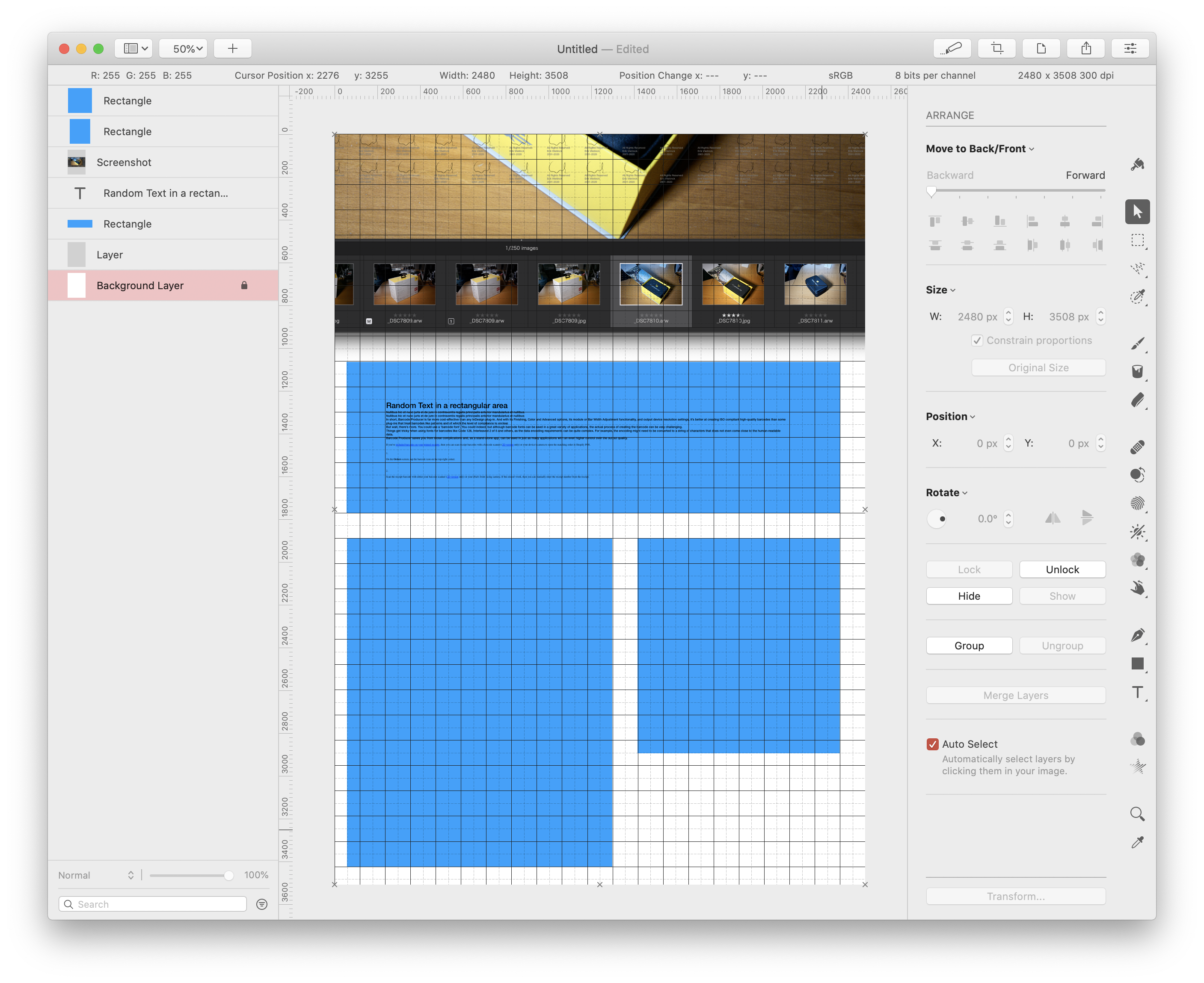 Background layer highlighted in the Pixelmator Pro layout screen