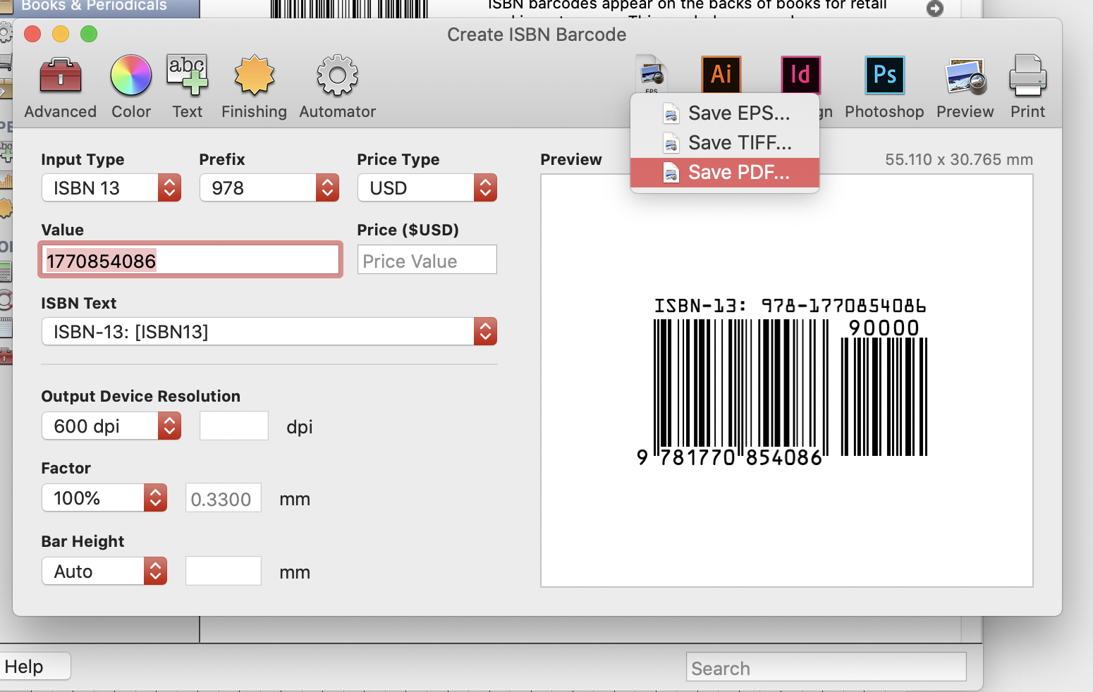Saving a barcode as PDF in Barcode Producer