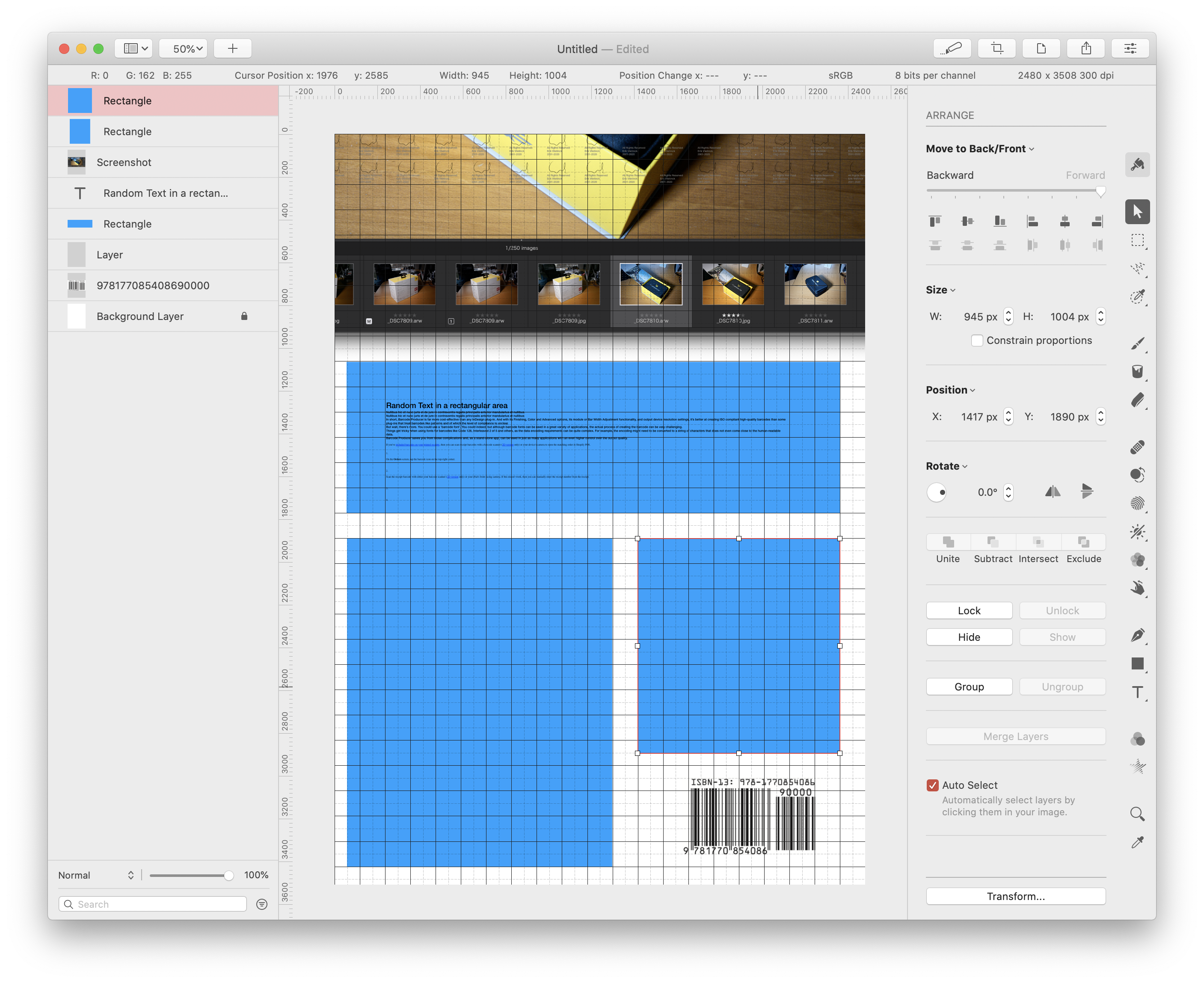 Barcode pasted into the Pixelmator Pro screen