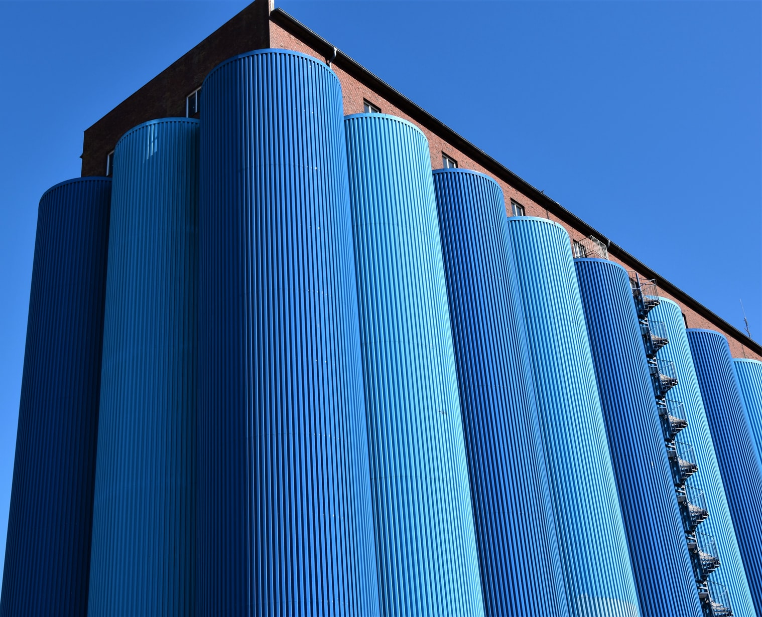 picture of blue silos