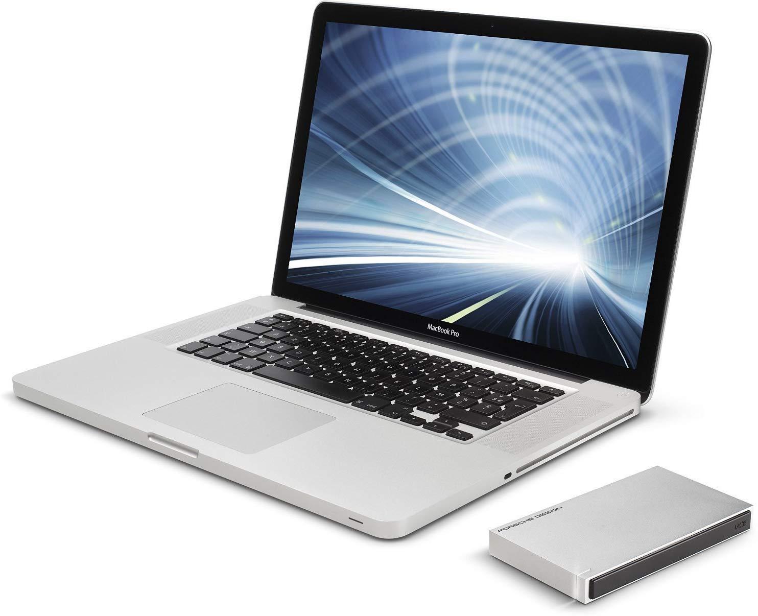 A Macbook and an external hard drive.