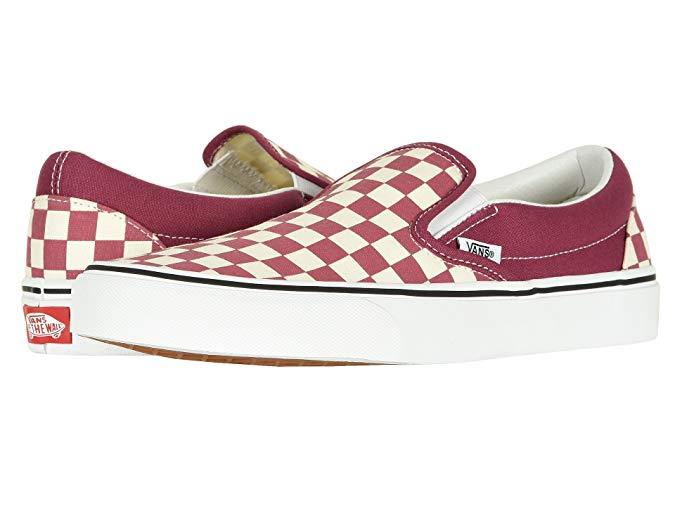 Vans checkerboard slips in maroon and white.
