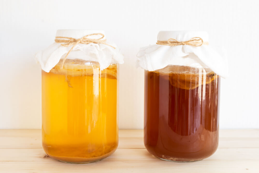 Two large jars of Kombucha.