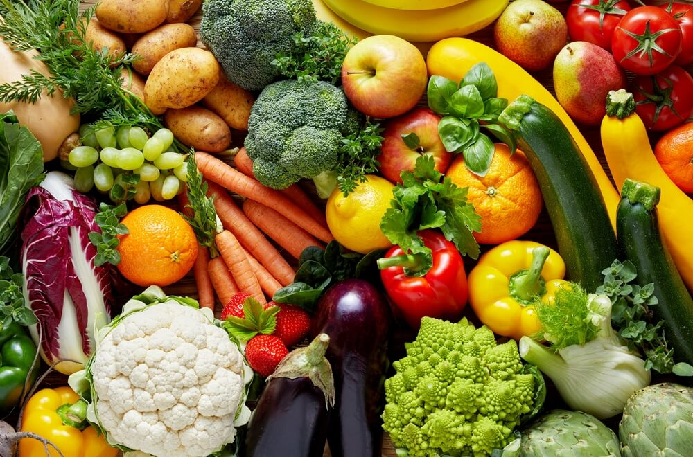 A colorful variety of fresh fruits and vegetables.
