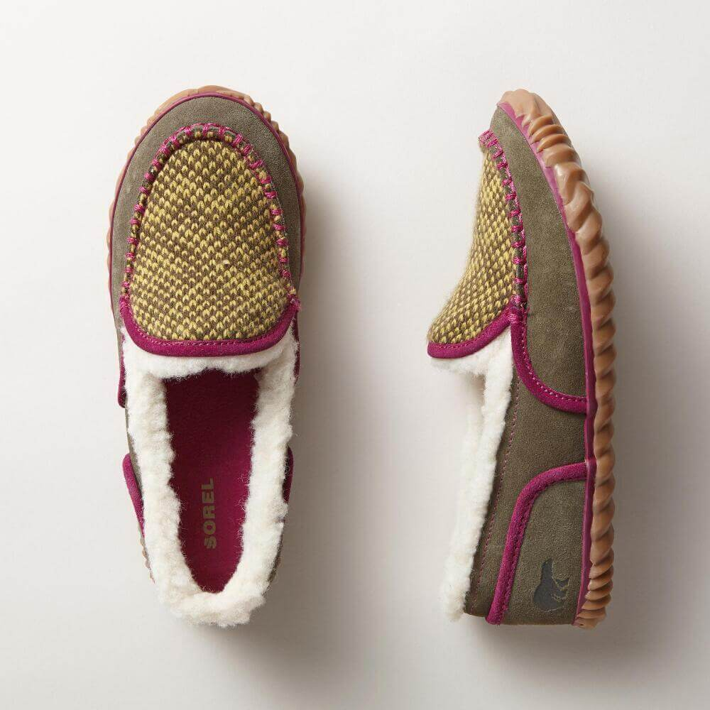 Colorful Sorel Tremblant Moccasin slippers.