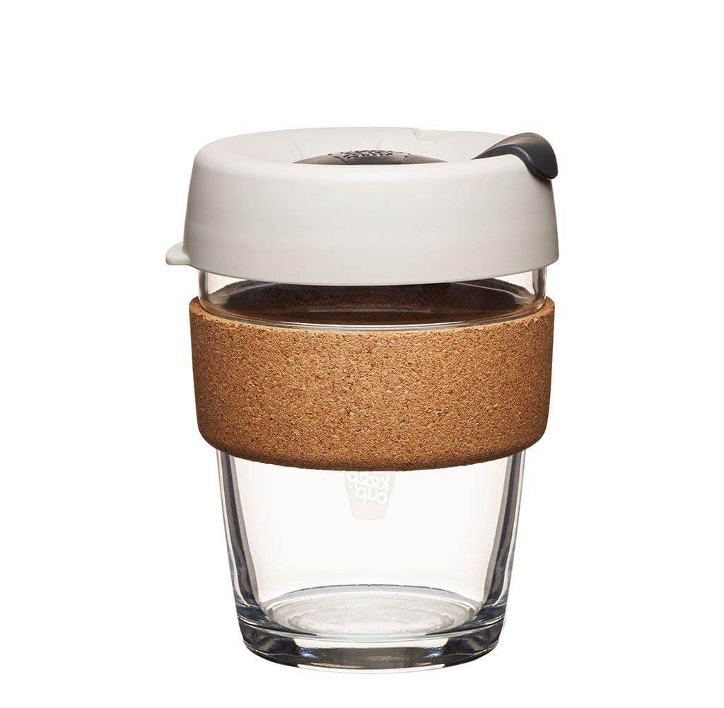 The KeepCup Reusable Coffee Cup with cork around it so you don't burn your hands.
