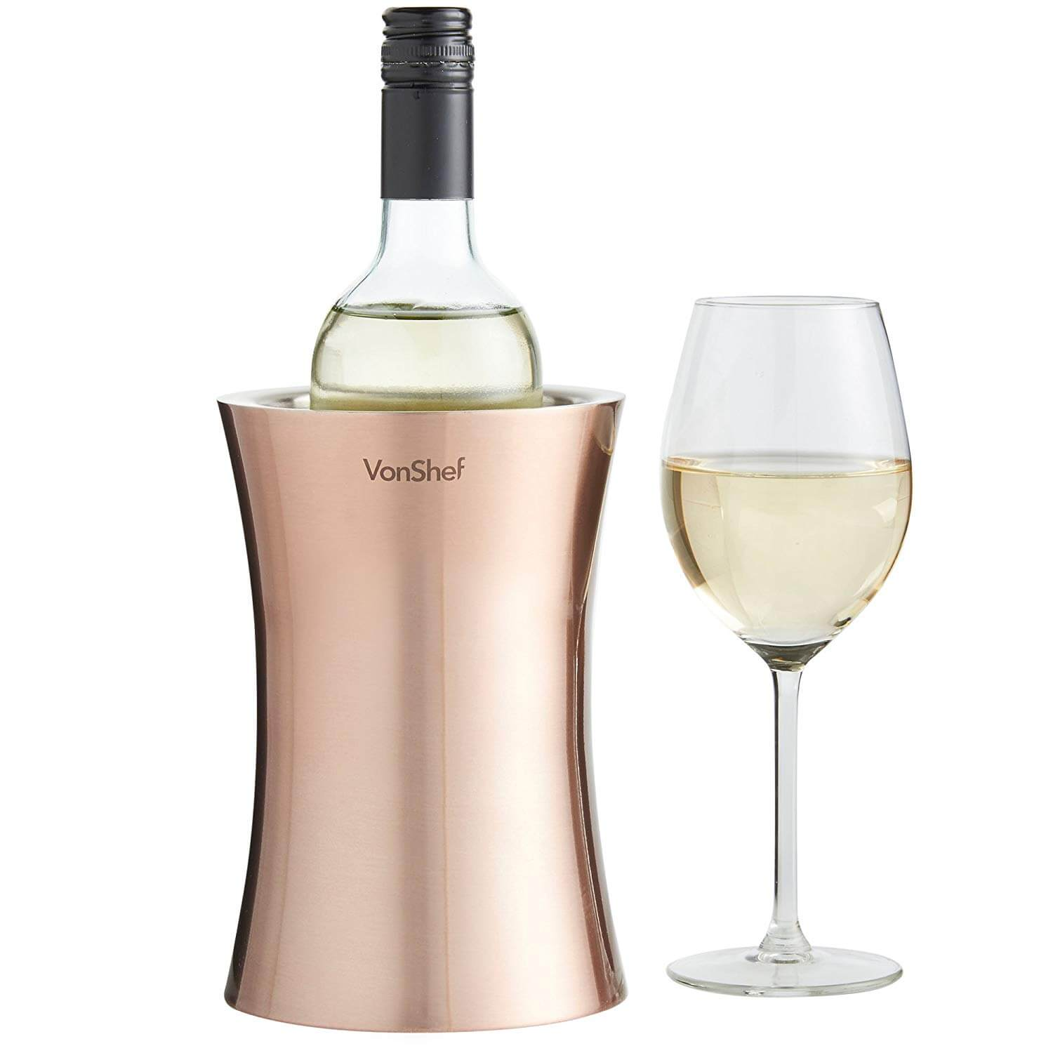 A bottle of white wine in the VonShef Copper Wine Bottle Chiller.