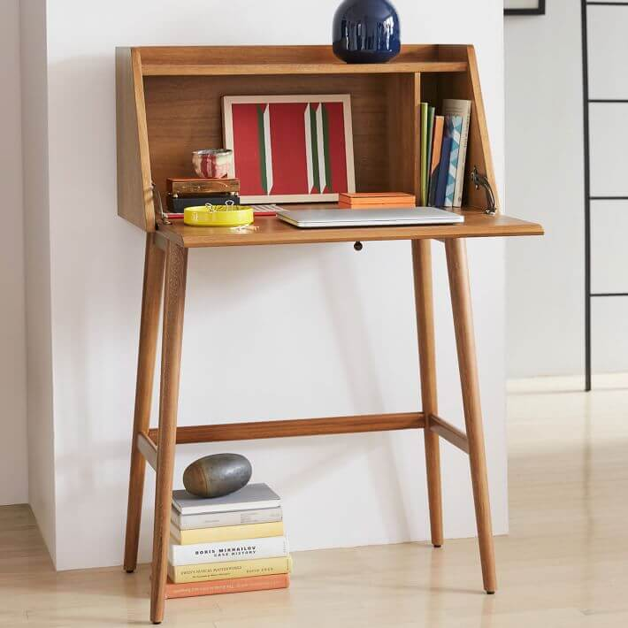 A wooden hutch style desk.
