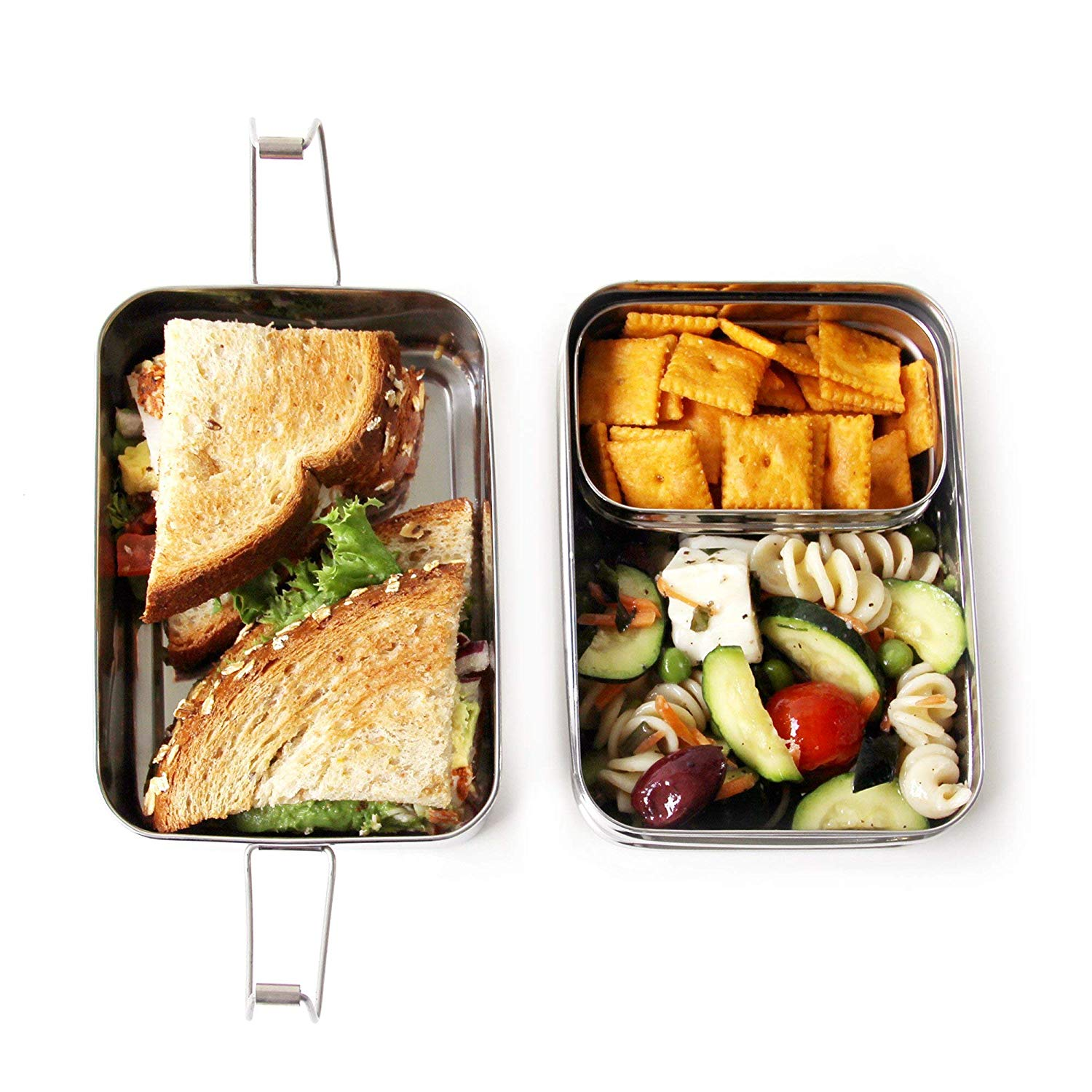 Metal meal containers.