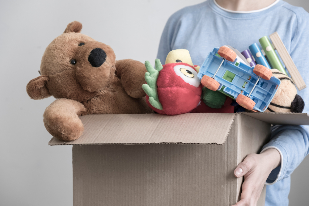 A box of donating toys.