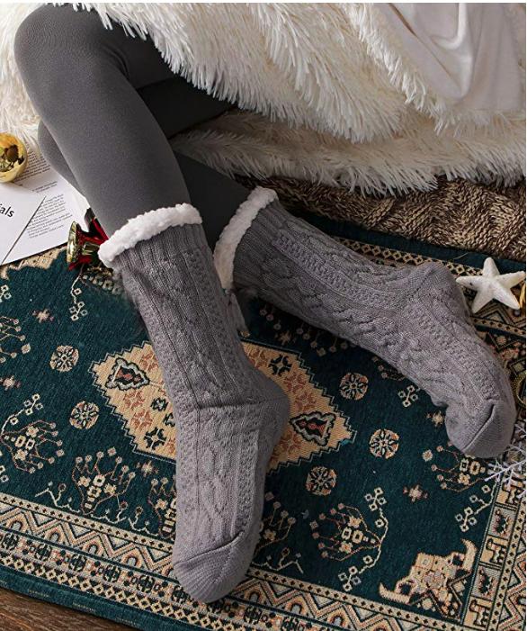 Gray slipper socks.