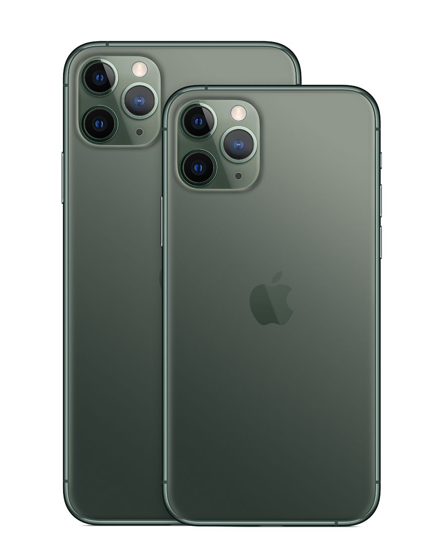 The rear of the iPhone 11 Pro with 3 cameras.