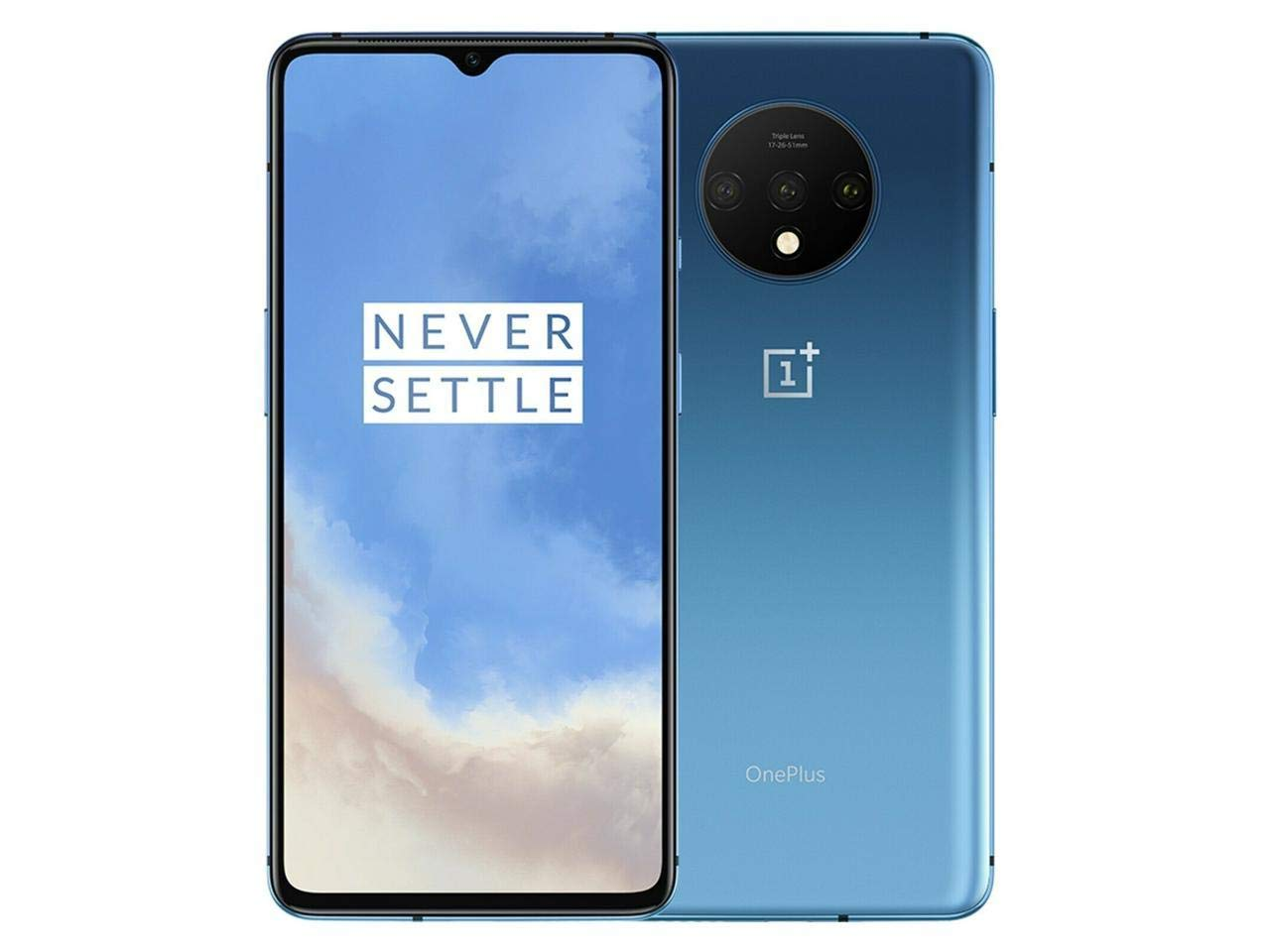 A blue OnePlus 7T phone.