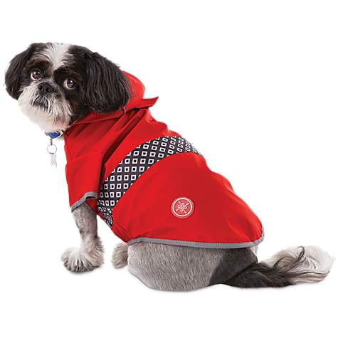 A small dog in a red rain coat.