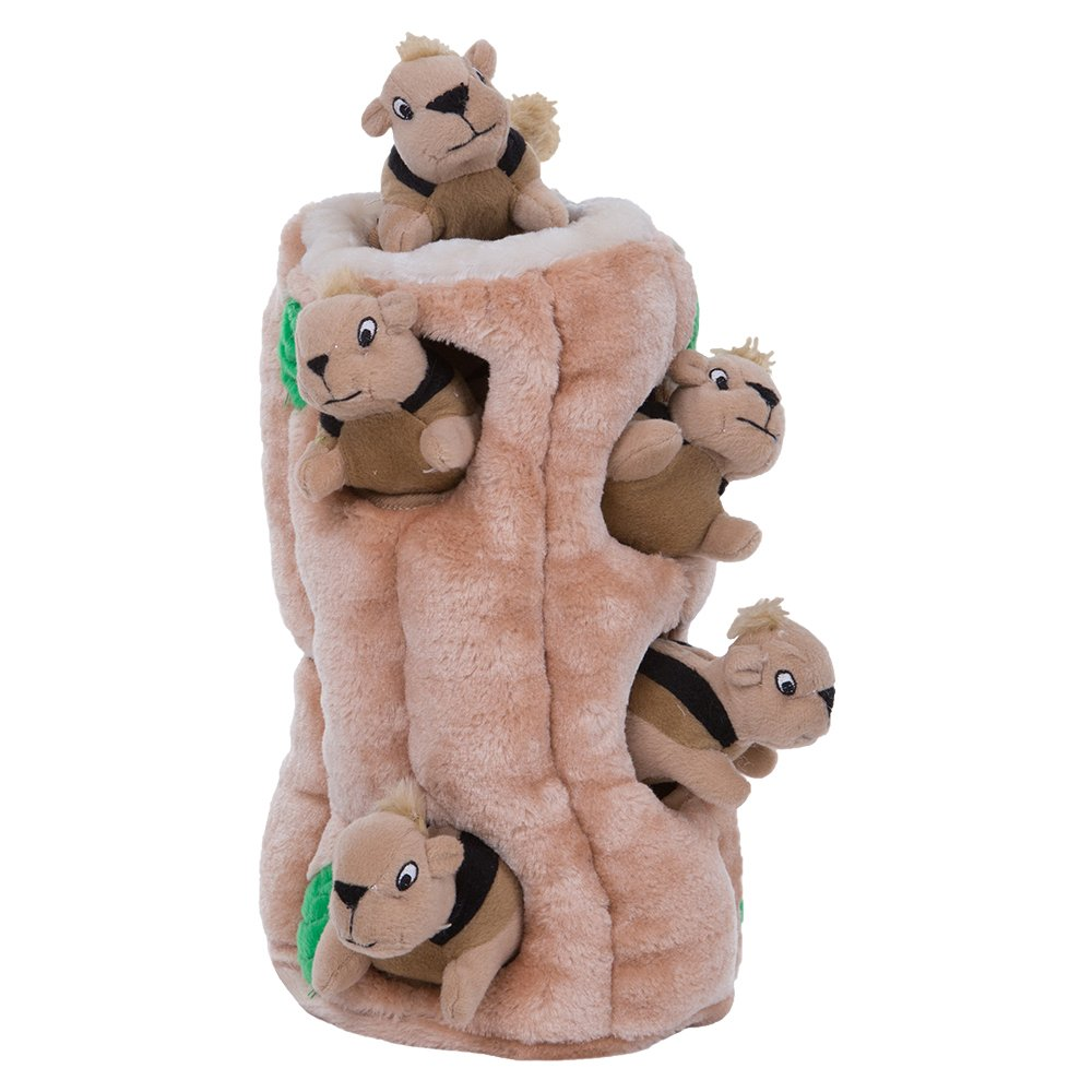 The Outward Hound interactive puzzle is a plush log with toy squirrels hidden inside.
